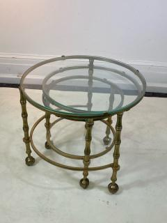 Maison Jansen MODERN SOLID BRASS FAUX BAMBOO EXPANSION NESTING TABLES - 1569370