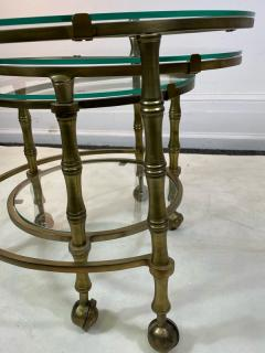 Maison Jansen MODERN SOLID BRASS FAUX BAMBOO EXPANSION NESTING TABLES - 1569371