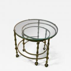 Maison Jansen MODERN SOLID BRASS FAUX BAMBOO EXPANSION NESTING TABLES - 1570418