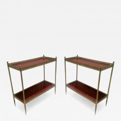 Maison Jansen Maison Jansen 1940s Pair of Two Tier Side Table with Red Leather Patinated Top - 468851