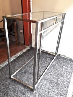 Maison Jansen Maison Jansen 70s pair of sturdy chrome steel console - 1133539