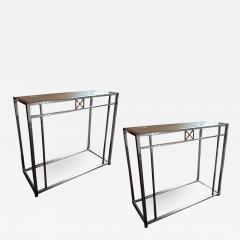 Maison Jansen Maison Jansen 70s pair of sturdy chrome steel console - 1133704