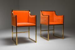 Maison Jansen Maison Jansen Dining Armchairs in Brass and Orange Velvet 1980s - 1691764