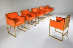 Maison Jansen Maison Jansen Dining Armchairs in Brass and Orange Velvet 1980s - 1691765