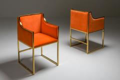 Maison Jansen Maison Jansen Dining Armchairs in Brass and Orange Velvet 1980s - 1691766