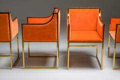 Maison Jansen Maison Jansen Dining Armchairs in Brass and Orange Velvet 1980s - 1691767