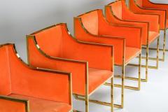 Maison Jansen Maison Jansen Dining Armchairs in Brass and Orange Velvet 1980s - 1691768