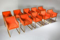 Maison Jansen Maison Jansen Dining Armchairs in Brass and Orange Velvet 1980s - 1691775
