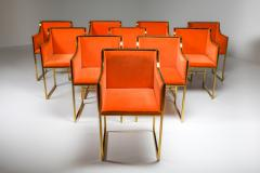 Maison Jansen Maison Jansen Dining Armchairs in Brass and Orange Velvet 1980s - 1691782