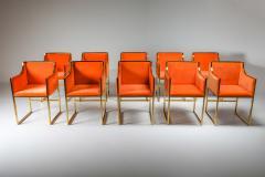 Maison Jansen Maison Jansen Dining Armchairs in Brass and Orange Velvet 1980s - 1691783