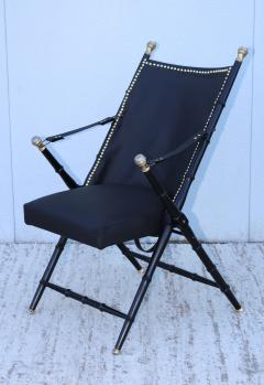 Maison Jansen Maison Jansen Style Campaign Leather Chair - 1156953