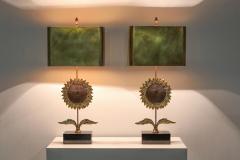 Maison Jansen Maison Jansen Sunflower Pair of Lamps 1970s - 1691679