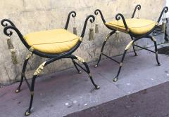 Maison Jansen Maison Jansen awesome solid iron French Empire revival pair of stools - 869836
