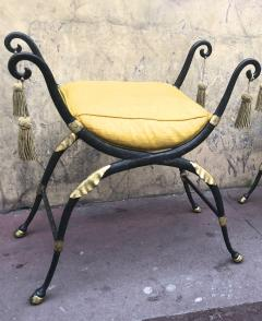 Maison Jansen Maison Jansen awesome solid iron French Empire revival pair of stools - 869837