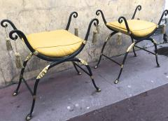 Maison Jansen Maison Jansen awesome solid iron French Empire revival pair of stools - 869839