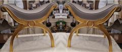 Maison Jansen Maison Jansen chicest gold leaf x shaped stools - 1017785