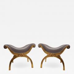 Maison Jansen Maison Jansen chicest gold leaf x shaped stools - 1018572