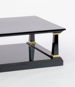 Maison Jansen Maison Jansen longest spectacular 2 tiers black and gold leaf coffee table - 1649167