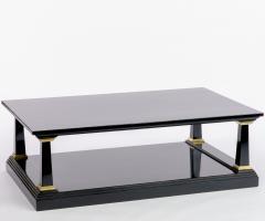 Maison Jansen Maison Jansen longest spectacular 2 tiers black and gold leaf coffee table - 1649168