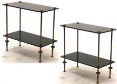Maison Jansen Maison Jansen pair of 2 tier side table in black opaline and bronze - 921868