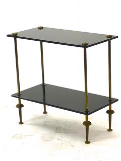 Maison Jansen Maison Jansen pair of 2 tier side table in black opaline and bronze - 921869