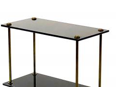 Maison Jansen Maison Jansen pair of 2 tier side table in black opaline and bronze - 921870