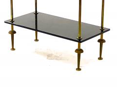 Maison Jansen Maison Jansen pair of 2 tier side table in black opaline and bronze - 921871