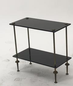 Maison Jansen Maison Jansen pair of 2 tier side table in black opaline and bronze - 921872