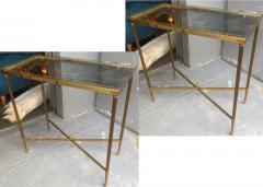 Maison Jansen Maison Jansen pair of refined gold bronze 2 tier side tables - 1031885