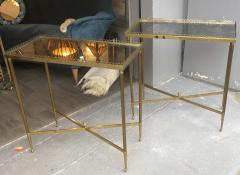 Maison Jansen Maison Jansen pair of refined gold bronze 2 tier side tables - 1031887