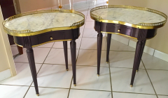 Maison Jansen Maison Jansen rarest kidney shaped pair of refined gold bronze side tables - 1478115