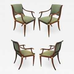 Maison Jansen Maison Jansen refine set of 4 silver greyhound arm chairs - 1522995