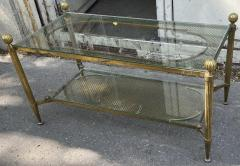 Maison Jansen Maison Jansen refined 2 tier large coffee table with gold bronze accent - 2142368