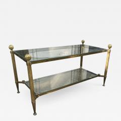 Maison Jansen Maison Jansen refined 2 tier large coffee table with gold bronze accent - 2144745
