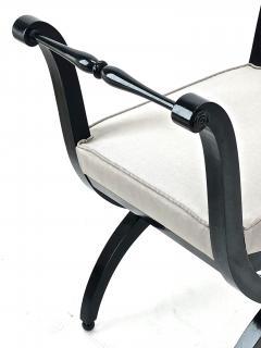 Maison Jansen Maison Jansen refined harp shaped pair of black lacquered stools - 939741