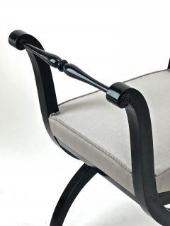 Maison Jansen Maison Jansen refined harp shaped pair of black lacquered stools - 939742