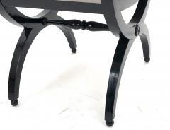 Maison Jansen Maison Jansen refined harp shaped pair of black lacquered stools - 939743