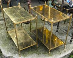 Maison Jansen Maison Jansen refined pair of 2 tier side table with gold leaf glasses - 912550