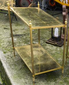Maison Jansen Maison Jansen refined pair of 2 tier side table with gold leaf glasses - 912551