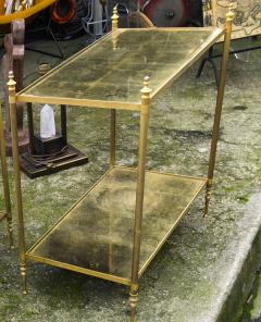 Maison Jansen Maison Jansen refined pair of 2 tier side table with gold leaf glasses - 912552
