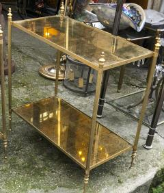 Maison Jansen Maison Jansen refined pair of 2 tier side table with gold leaf glasses - 912553