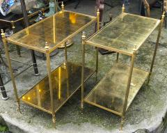 Maison Jansen Maison Jansen refined pair of 2 tier side table with gold leaf glasses - 912554