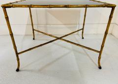 Maison Jansen Pair French Gilt Iron Faux Bamboo Side Tables - 1170571