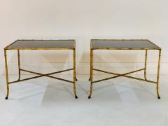 Maison Jansen Pair French Gilt Iron Faux Bamboo Side Tables - 1170572