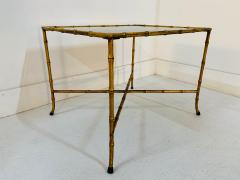 Maison Jansen Pair French Gilt Iron Faux Bamboo Side Tables - 1170574