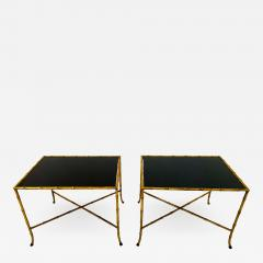 Maison Jansen Pair French Gilt Iron Faux Bamboo Side Tables - 1171225