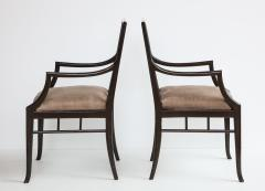 Maison Jansen Pair of Dark Grey Chinoiserie Armchairs by Maison Jansen France 1970s - 1236742
