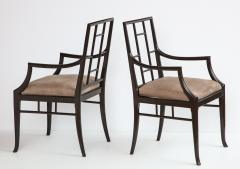 Maison Jansen Pair of Dark Grey Chinoiserie Armchairs by Maison Jansen France 1970s - 1236743
