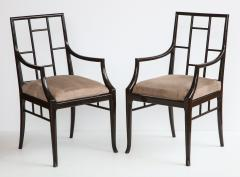 Maison Jansen Pair of Dark Grey Chinoiserie Armchairs by Maison Jansen France 1970s - 1236744