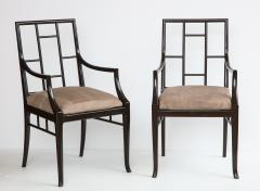 Maison Jansen Pair of Dark Grey Chinoiserie Armchairs by Maison Jansen France 1970s - 1236746